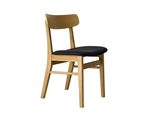 Emma stoel, eiken, zwart, 48 x 46 x 79 cm