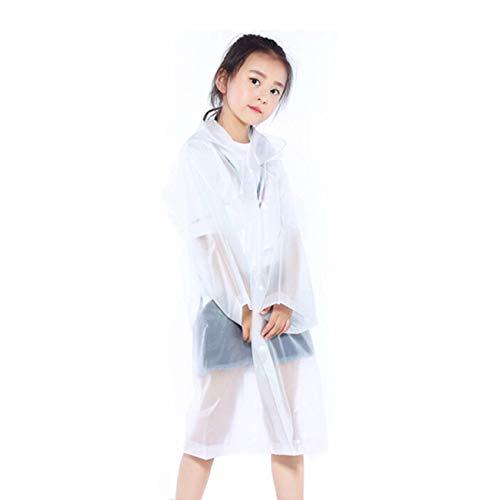 Orgrimmar2 Pcs Kids Rain Ponchos Reusable Raincoats Portable Rain Wear with Hat Hood Unisex for 6-12 Years Old Children