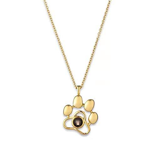 Lfhing Collar personalizado para mascotas con foto en 100 idiomas, texto en inglés «Ich Liebe Dich», collar de metal, regalo para novia, San Valentín