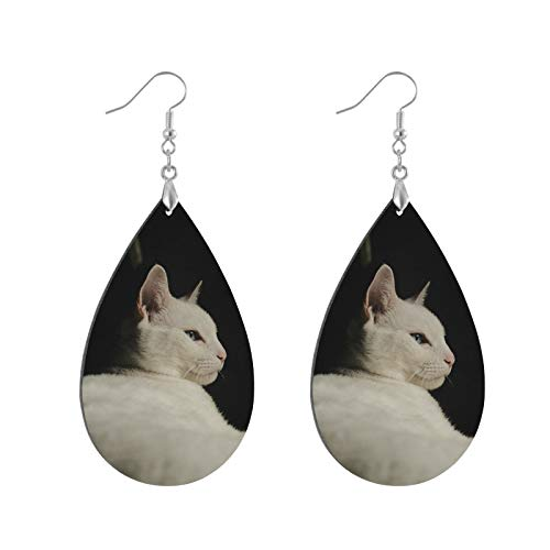 White Cat Wooden Earrings Leaf Eardrops Pendant Earrings, Lightweight Teardrop Danglers, Ear Studs Ethnic Style for Girls