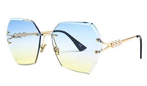 Occhiali da sole da donna - Esagonali - Vintage - Polarizzati - Colorati - Ragazza - Sfumati - Montatura dorata - Lente Blu Gialla