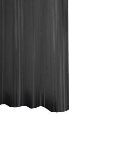 RIDDER 47150S-350 douchegordijn, textiel, ca. 120 x 200 cm, satijn zwart inclusief ringen