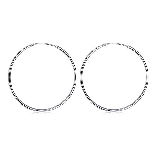 wangk 925 Pendiente de aro de Plata de Ley para Las Mujeres Grandes Redondo círculo Pendientes joyería