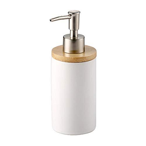 BulzEU - – Dispensador de jabón de cerámica para cepillos de Dientes, Tazas con Soporte de bambú, Juego de Accesorios de baño, dispensador de jabón con Bomba, Cepillo de Dientes, Taza y Vaso