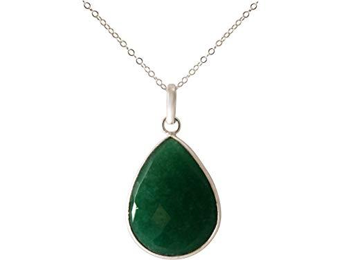 Gemshine Halskette mit Smaragd Edelstein Tropfen. Anhänger aus 925 Silber oder hochwertig vergoldet an 60cm Kette. Nachhaltiger, qualitätsvoller Schmuck Made in Spain, Metall Farbe:Silber