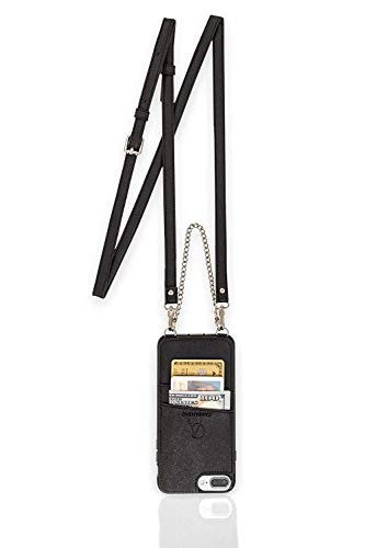 Caseahead Black iPhone 6 Plus, 7 Plus, 8 Plus Cell Phone Wallet Case w/Crossbody Strap & Chain Wristlet - RFID Slots for Money, ID & Credit Cards | Purse Case for Women -Black (6.2