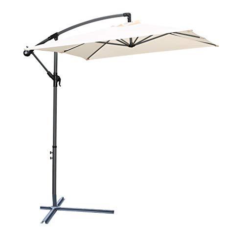 Pure Home & Garden Hochwertiger Ampelschirm Horizon 300 x 200 cm in Natur, neigbar, 360 Grad drehbar, UV-Schutz 40 Plus, inklusive Plattenständer