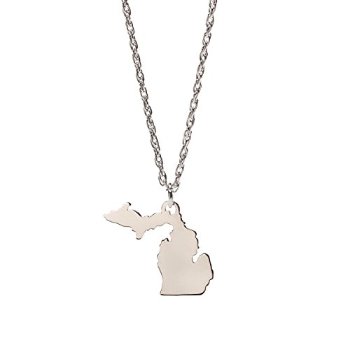 Michigan Map Necklace Pendant | Michigan Jewelry | Michigan Gift | Stainless Steel