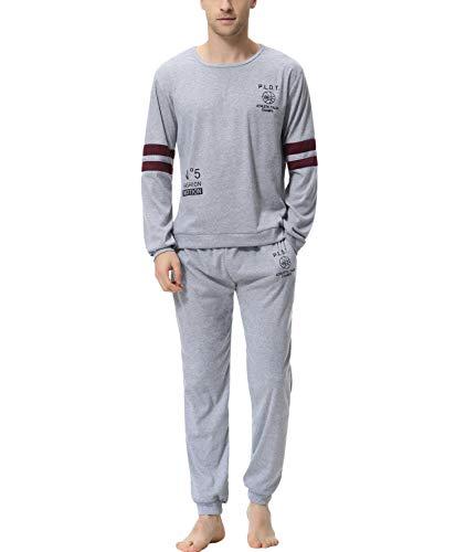 Aiboria Pijamas Hombre Manga Larga y Algodón 2 Piezas Calentito Pijamas de Suave Cómodo Ropa de Dormir