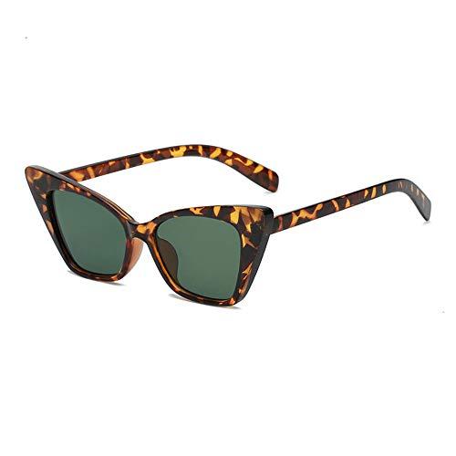 DLSM Pequeños Gafas de Sol de Ojo de Gato Mujeres clásicos Retro cateye Gafas de Sol de Moda para Mujer Gafas de Sol adecuadas para la Playa Gafas de Sol de conducción de Golf-Lente Verde Leopardo