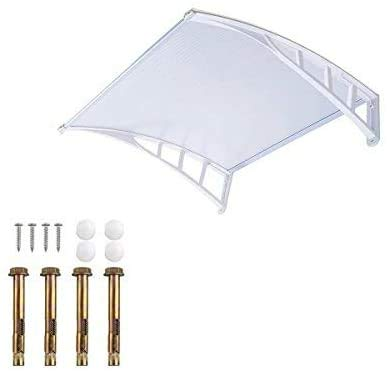 Dripex Türüberdachung, Eingangstürüberdachung, Fensterüberdachung Türüberdachung Banne Polycarbonat 120x75cm-Weiß