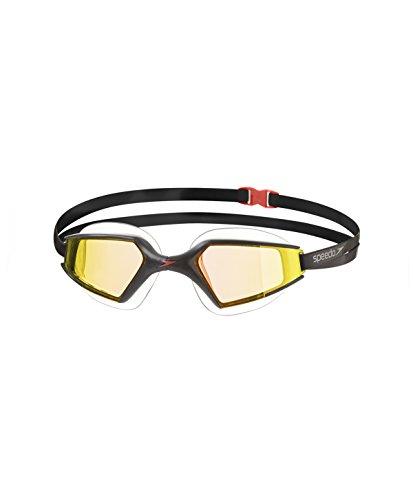 Speedo Aquapulse MAX 2 Mirror Gafas de Natación, Unisex Adulto, Negro (Orange Gold), Talla Única