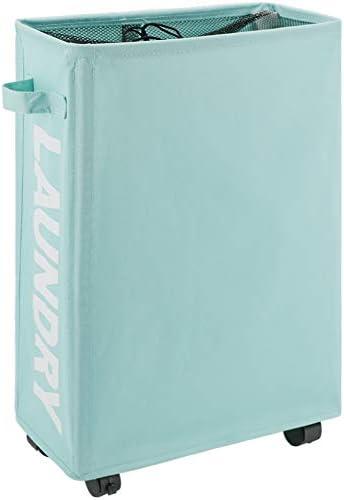 TOTANKI 22 Rolling Slim Laundry Basket with Handle on Wheels 4 Colors Foldable Laundry Hamper product image