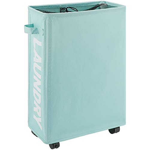 "TOTANKI 22"" Rolling Slim Laundry Basket with Handle on Wheels (4 Colors), Foldable Laundry Hamper, Collapsible Laundry Sorter and Organizer, Tall Storage Basket Bin (Light Blue)"
