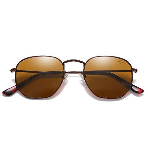 SOJOS Mode Polygon Sonnenbrille Damen Herren Verspiegelte Linse Leichte Unisex Brille SJ1072 mit Kaffee Rahmen/Braun Linse