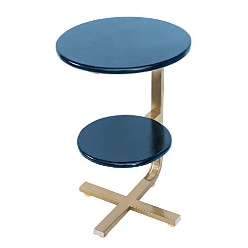 YBINGA Patas de mesa Mesa auxiliar, mesa de centro Mesa redonda pequeña de 2 niveles de madera Mesa auxiliar soporte de metal Sala Dormitorio Terraza Mesa de centro (negro) Mesa de centro