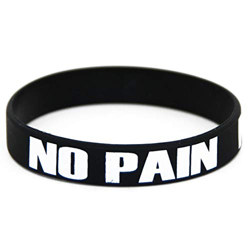 Extiff - Pulsera negra con marcas en ella 'no Pain no Gain', en Silicona / Goma, para hombres, mujeres o niños; para deporte, fitness, entrenamiento con pesas, CrossFit, Workout, Gym