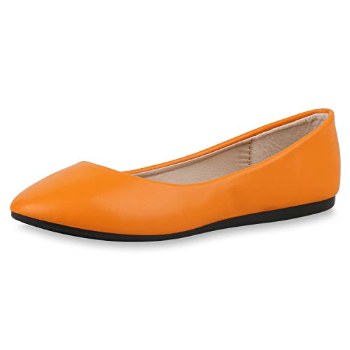 SCARPE VITA Damen Klassische Ballerinas Basic Slipper Slip On Schuhe Flats 174735 Orange 36