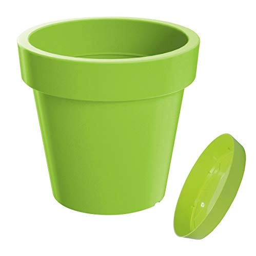 Erhard-Trading Pot de fleurs Valencia - En plastique - Rond - 15 cm - Vert citron