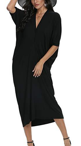 LQBZ Womens Summer Batwing Dolman Sleeve Modest Work Casual Maxi Dress Black Medium