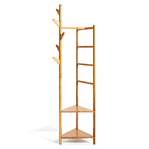 Hododou Coat Stand Upgrade Version 4 in 1 Bamboo Coat Stand Versatile Corner Coat Tree Storage Shelf with 2 Storage Rack and 1 Hanging Rail and 1 Trousers Rack for Hallway Living Room Bedroom 166cm