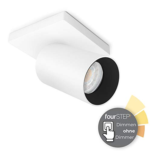 SSC-LUXon ALVO 1 Wandspot Deckenspot mit fourSTEP Dimmen ohne Dimmer LED GU10 5W warmweiß - Strahler schwenkbar weiß schwarz