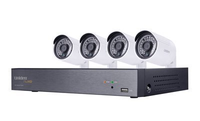 Uniden 1080P HD 4CH Video Security System w/Four 2.43 MP Weatherproof IP66 Bullet Cameras, 100