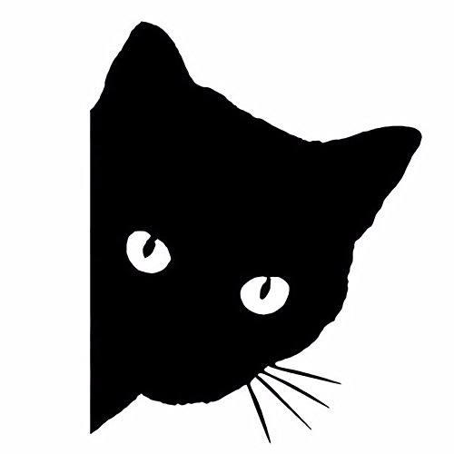 Ouken Styling-Katze spähen personalisierte reflektierende Auto Aufkleber Auto Truck Fahrzeug Motorrad-Aufkleber (schwarze Katze)