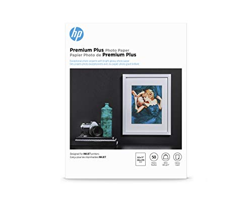 HP Premium Plus Photo Paper, Glossy, A, 50 Sheets (CR664A), White