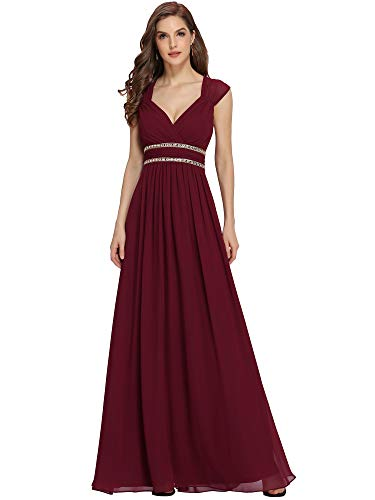 Ever-Pretty Vestito da Cerimonia Donna Linea ad A Chiffon Scollo a V Senza Maniche Stile Impero Lungo Borgogna 36