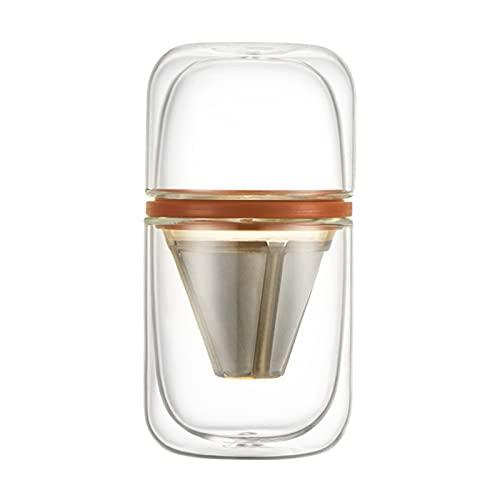 NEW MEI Przenośna Podróże Pożar Kawowy Szklany Zestaw Kapsułek Zimny Zaparzenie Mrożona Ekspres do kawy Kawa Dripper Herbata Maker Kawa Drip Czajnik Filtr (Color : Orange)