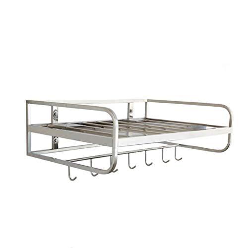 Estante de cocina estante de microondas ensanchado Super carga accesorios de cocina de acero inoxidable montado en la pared con gancho de una sola capa 21.64.714.9 pulgadas