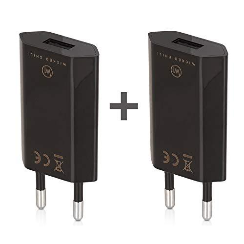Wicked Chili 2X Pro Series Netzteil - Ultra Slim USB Adapter kompatibel mit Apple iPhone SE 2, 11, 11 Pro, 11 Pro Max, XS, XS Max, XR, Samsung Galaxy S20 Ultra, 10+, Lite, S9+, S9 (1A, 5V) schwarz