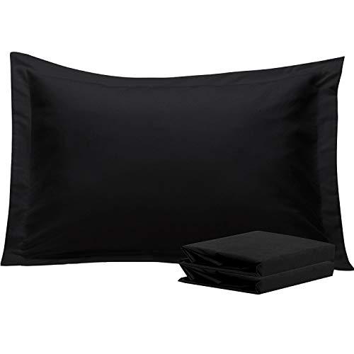 NTBAY Fundas de Almohada Oxford de Microfibra, Paquete de 2 Fundas de Almohada Oxford Antiarrugas y Resistentes a Las Manchas Suaves y Acogedoras, 50x75 cm, Negro