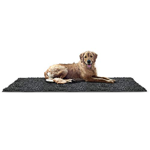 Furhaven Pet Dog Mat | Muddy Paws Absorbent Chenille Shammy Bath Towel & Food Mat Rug for Dogs & Cats, Charcoal (Gray), Runner