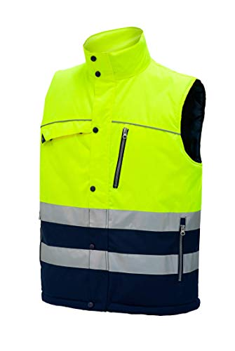 Chaleco Reflectante De Trabajo de Alta Visibilidad de Invierno de Hombre Profesional. Color Azul Marino Talla XXL. Ref: 4834