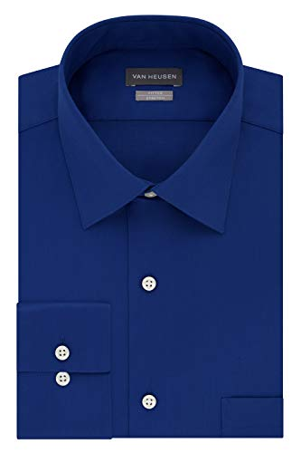 Van Heusen mens Fitted Lux Sateen Stretch Solid Spread Collar Dress Shirt, Blue Velvet, 17.5 Neck 36 -37 Sleeve X-Large US