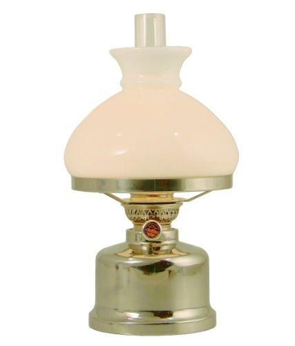 Old Danish Petroleumlampe Edelstahl poliert, mit Opal Glasschirm von E.S.Soerensen-Jan Landqvist