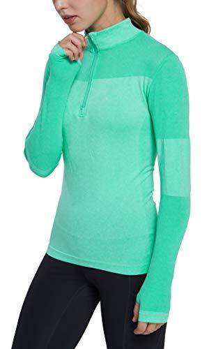 Westkun Damska bluza z długim rękawem, z zamkiem błyskawicznym, lekki trening, do biegania, sportu, bielizna szybkoschnąca, XS-XL