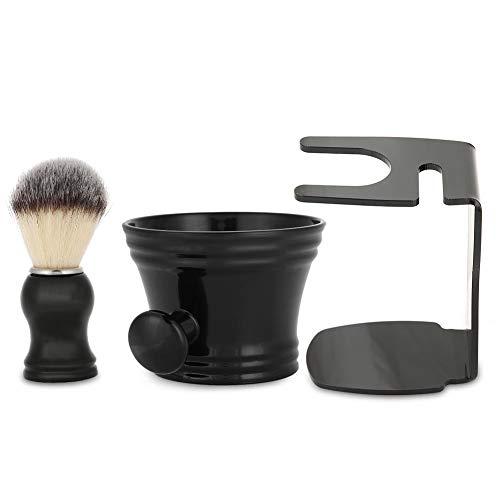 Juego de brochas de afeitar, brocha de afeitar 3 en 1 + tazón de jabón de afeitar + soporte para brochas, brocha de afeitar de cerdas de diseño moderno para hombres, kit de afeitado manual