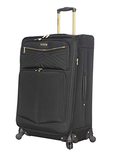 """Steve Madden Luggage Large 28"""" Expandable Softside Suitcase With Spinner Wheels (Rockstar Black, 28in)"""