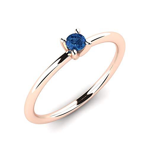 Solitärring Deidre aus 375 Rotgold mit blauem Saphir 0,10 ct AAA Qualität als perfekter Verlobungsring - Premium Antragsring für die Verlobung oder Geschenk für Damen - Rotgold Damenring