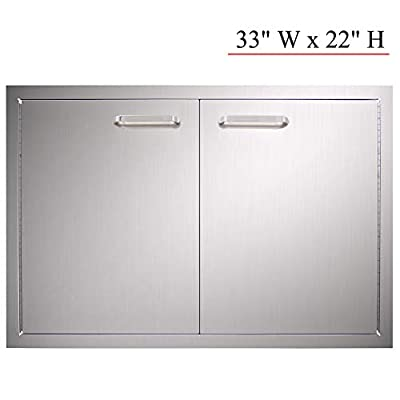 YXHARD BBQ Access Door, 304 Brushed Stainless Steel 33 Widthx 22 Height Inches Double Wall Outdoor Kitchen Door for Outdoor Kitchen,BBQ Island,BBQ Island, Outside Cabinet, Barbecue Grill