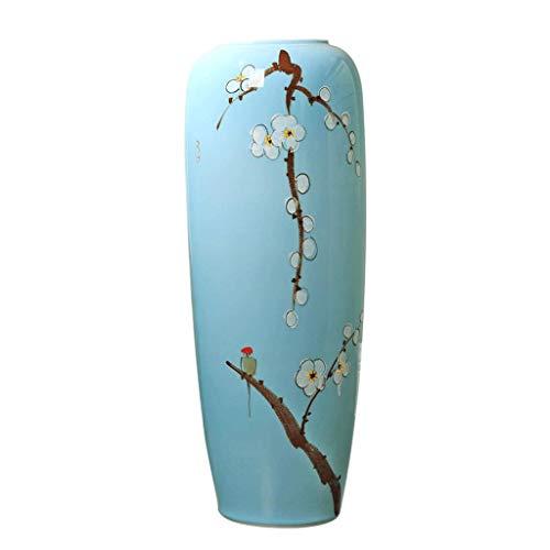 Keramikvasen vase Bodenvase Keramik Dekorationen Ornament Blau Startseite Wohnzimmer Esstisch Gefälschte Blumenschmuck Vasen (Size : 80cm*16cm)