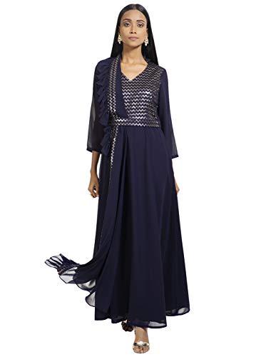 Indya Women's Georgette Asymmetrical Hemline Kurta (ITN01847_Blue_Small)