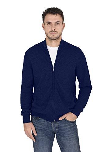 Cashmeren Men's Mock Neck Zip Up Cardigan Cashmere Wool Classic Knit Long Sleeve Zipped Down Sweater (Navy, Medium)