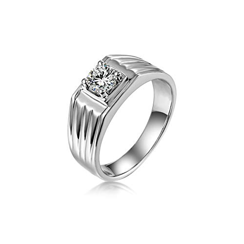 Adokiss Jewellery Sterling Silver Men's 4 Bar Claw Set Round Cubic Zirconia Engagement Ring Men's Wedding Rings Vintage Silver Size 53 (16.9) Anniversary Gift Birthday Gift