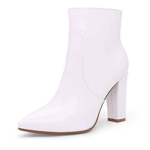 IDIFU Women's Dress Pointed Toe Short Boots Chunky High Heels Side Zipper Ankle Booties (White Pu, 9)