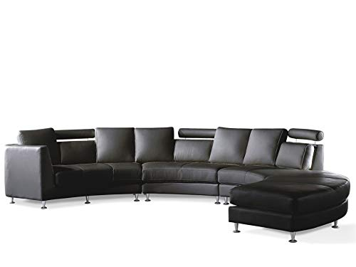 Beliani Modern Curved Sectional Sofa with Ottoman and Headrests Black Leather Rotunde