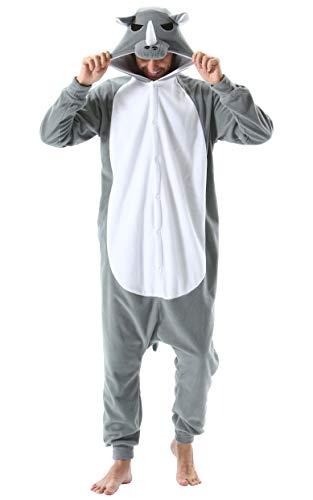 Pijama Animal Entero Unisex para Adultos con Capucha Cosplay Pyjamas Ropa de Dormir Kigurumi Traje de Disfraz para Festival de Carnaval Halloween Navidad Gris Rinoceronte